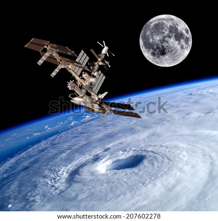Earth satellite space station spaceship background. Elements of this image furnished by NASA.