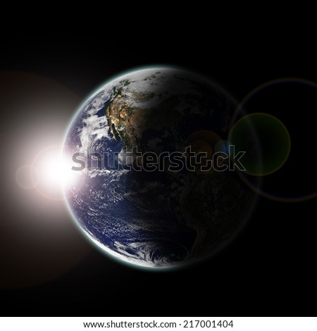 Earth seen from space at sun dawn and stars - Elements of this image furnished by NASA- - stock photo