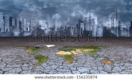 Earth sits in dried cracked mud before metropolis