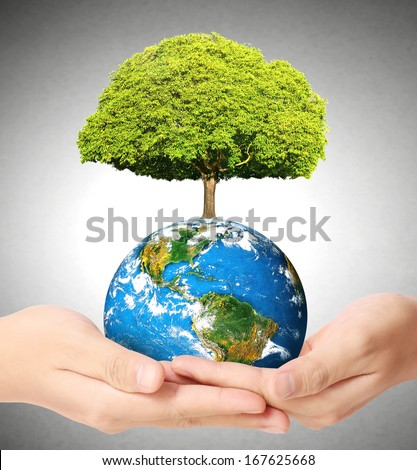 "earth social in human the hand ""Elements of this image furnished by NASA""  - stock photo"