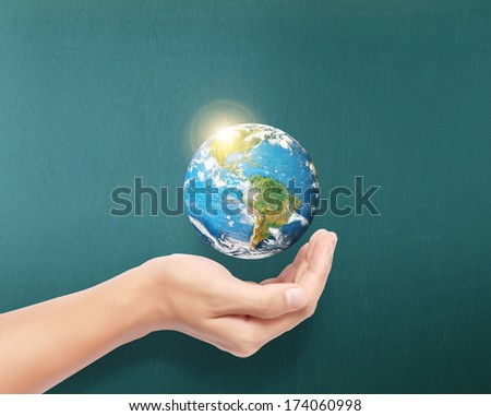 "earth social in human the hand ""Elements of this image furnished by NASA"""
