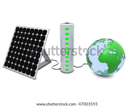 Earth, solar panel and battery - stock photo