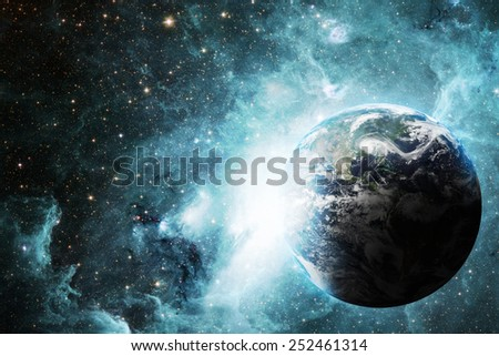 earth space aurora Elements of this image furnished by NASA - stock photo