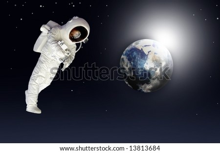 Earth space view and a astronaut