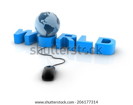"earth sphere on blue text ""WORLD"" with a computer mouse."