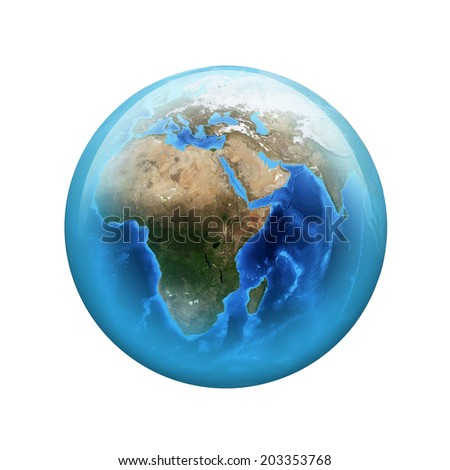 Earth. Spherical glossy button. Elements of this image are furnished by NASA - stock photo