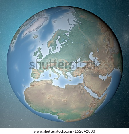 Earth standing on clean space. Europe
