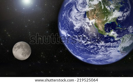 earth, sun and moon. Elements of this image furnished by NASA - stock photo