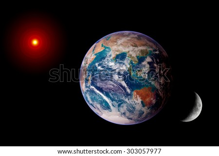 Earth sun moon isolated solar system planet astrology astronomy space. Elements of this image furnished by NASA.