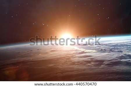 Earth sunrise. Elements furnished by NASA