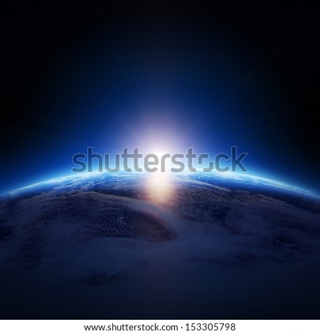 Earth sunrise over cloudy ocean with no stars -  Elements of this image furnished by NASA  - stock photo