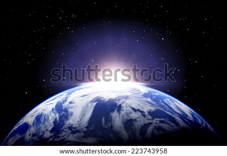 Earth sunrise with clouds and stars - stock photo