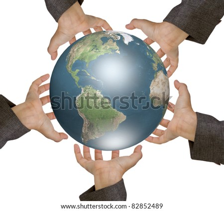 Earth surrounded by hands. White background.