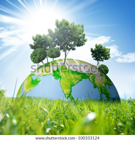 Earth Symbol of environmental protection - stock photo