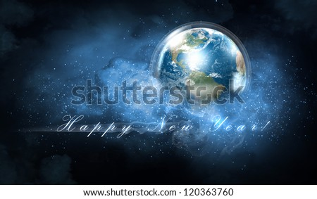 Earth symbol of the new year on our planet. Happy New Year and Merry Christmas. Elements of this image are furnished by NASA - stock photo