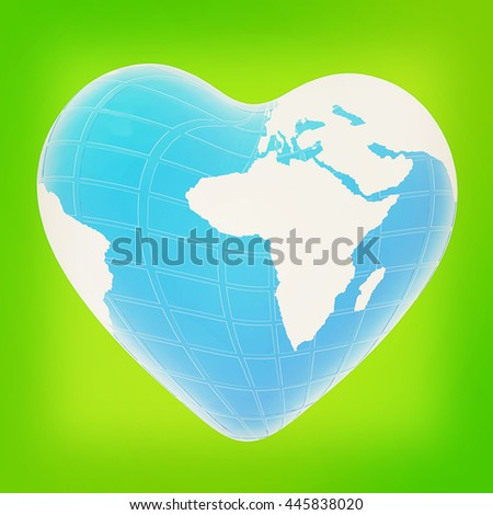 earth to heart symbol on a green background. 3D illustration. Vintage style. - stock photo