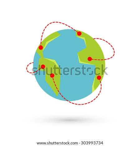 Earth travel illustration. Around the world travelling by plane, airplane trip in various country, travel pin location on a global map. - stock photo