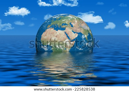 Earth under water - earth texture by NASA.gov - stock photo