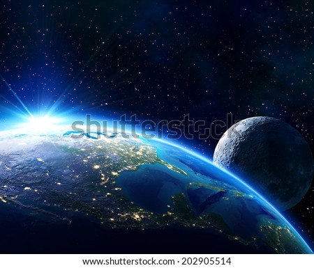 earth Usa, horizon and moon -  maps elements of this image furnished by NASA  - stock photo