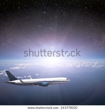 Earth. View from Airplane. Elements of this image furnished by NASA - stock photo