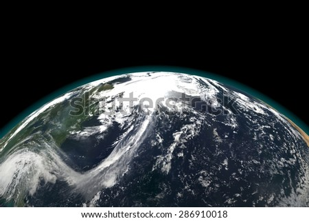 Earth view from outer space, Sun in the Background. 3d render illustration. Elements of this image furnished by NASA.