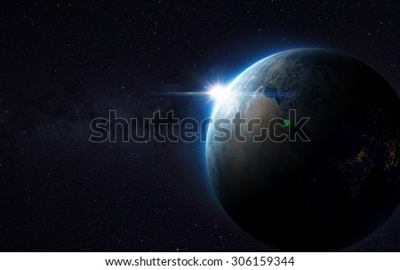 Earth view from space with sunrise. (Elements of this image furnished by NASA) - stock photo
