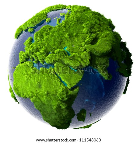 Earth with a pure transparent ocean is completely covered with lush green grass - a symbol of a clean environment, rich in natural resources and good environmental conditions. - stock photo