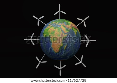 EARTH with Alternative energy Wind turbine view from space 3d concept - stock photo