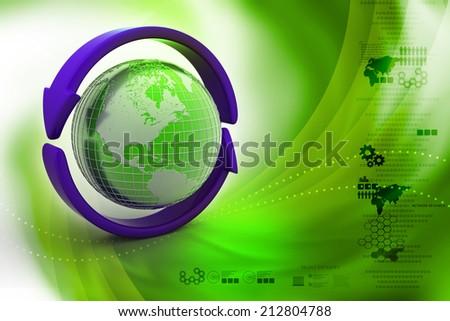 Earth with arrow circle around - stock photo