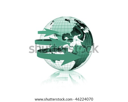 earth with arrows on a white background