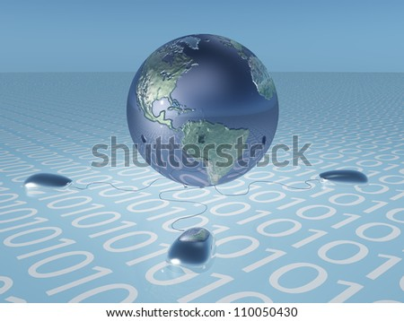 Earth with binary code and computer mice - stock photo