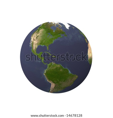 earth with black background, view by space