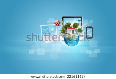 Earth with buildings and laptop, tablet and smartphone. Element of this image furnished by NASA