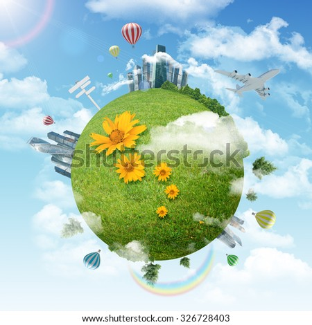 Earth with city and balloons on blue sky background