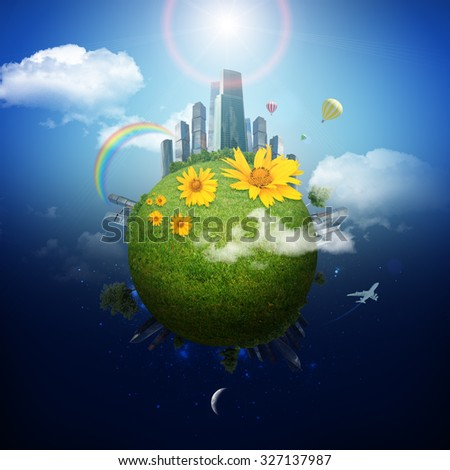 Earth with city and clouds on blue sky background