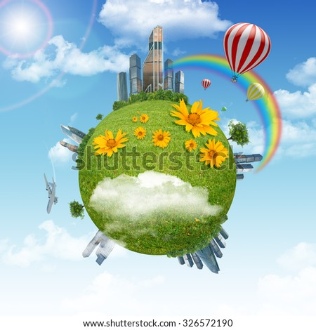 Earth with city and rainbow and blue sky background
