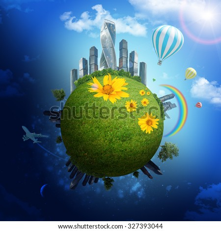 Earth with city and sun on blue sky background