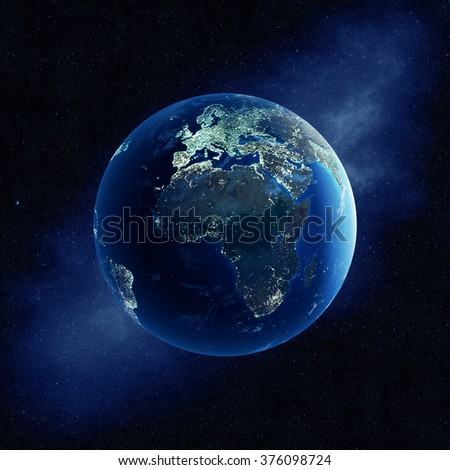 Earth with city lights at night in outer space with Africa and Europe  (Elements of this  3D rendered image furnished by NASA - stock photo