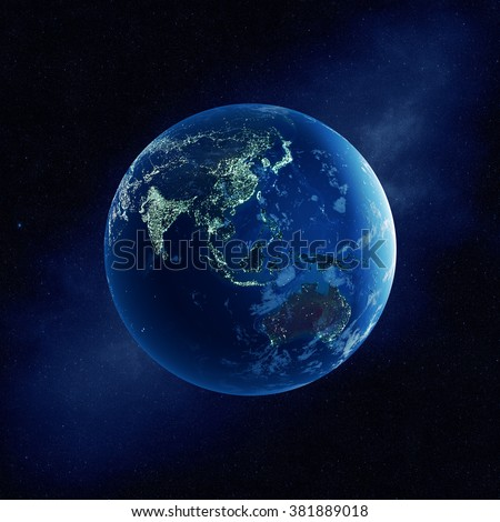 Earth with city lights at night in outer space with Australia and East Asia  (Elements of this  3D rendered image furnished by NASA)