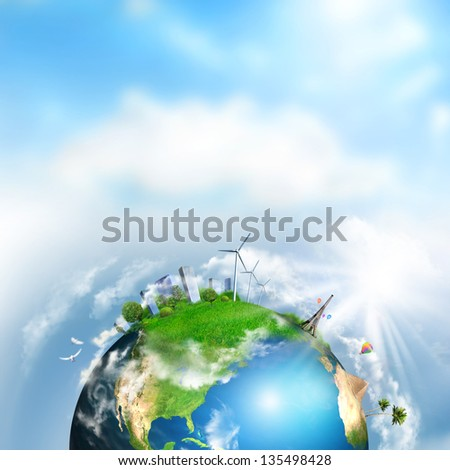 Earth with different elements on its surface. Day time - stock photo