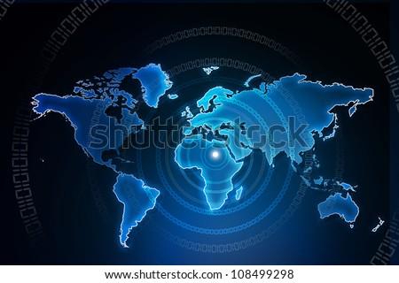earth with digital fibers - stock photo