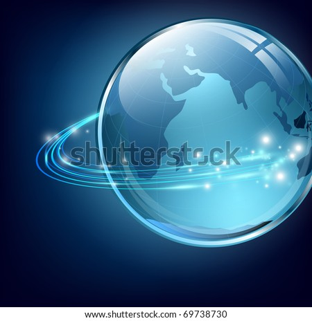earth with digital fibers over blue - stock photo