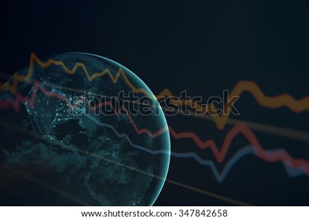 Earth with financial data. Elements of this image are furnished by NASA.
