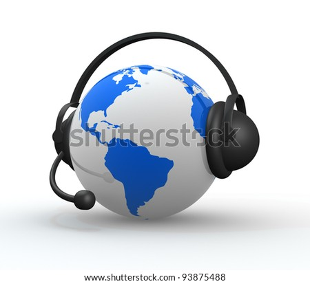 Earth with headphones. World music concept high detailed. 3d render - stock photo
