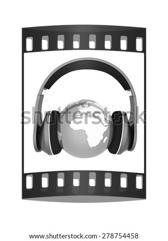 earth with headphones. World music concept isolated on white. The film strip - stock photo
