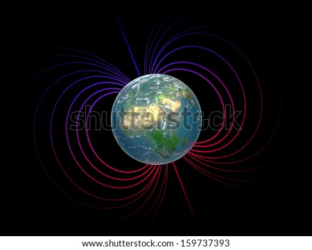 Earth with it's magnetosphere