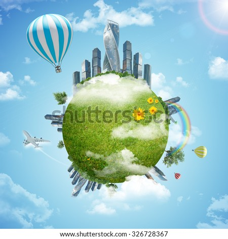 Earth with modern city and flowers on blue sky background