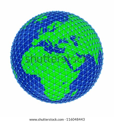 Earth with network technology isolated on white background