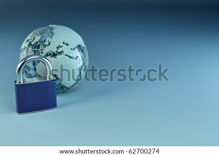Earth with padlock on blue background. 3d - stock photo