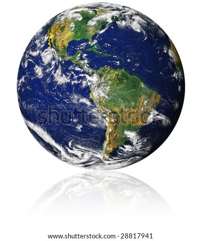 earth with reflection on a white background